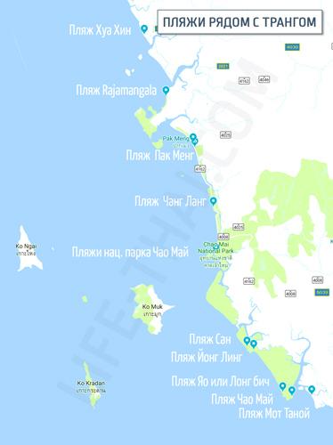 Карта пляжей Транга