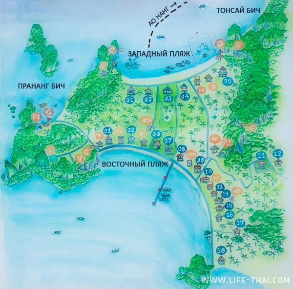 Карта Рейли в Краби со всеми пляжами