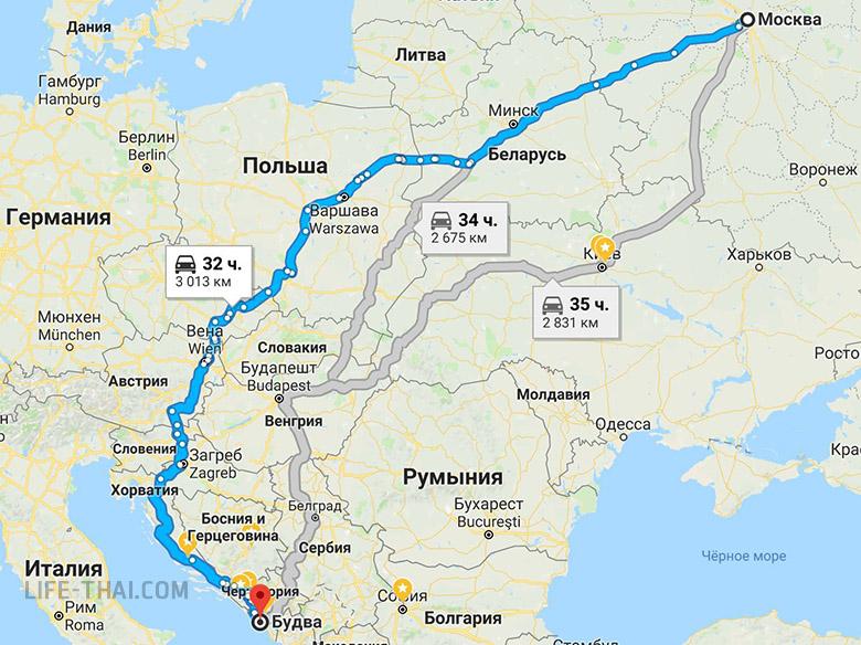 Маршрут поездки в Черногорию из Москвы на своём авто