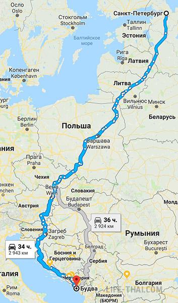 Маршрут поездки в Черногорию из Санкт-Петербурга на своей машине
