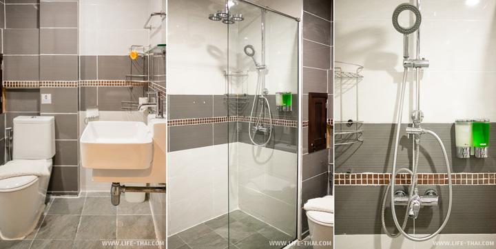 Ванная в недорогом отеле в Краби
