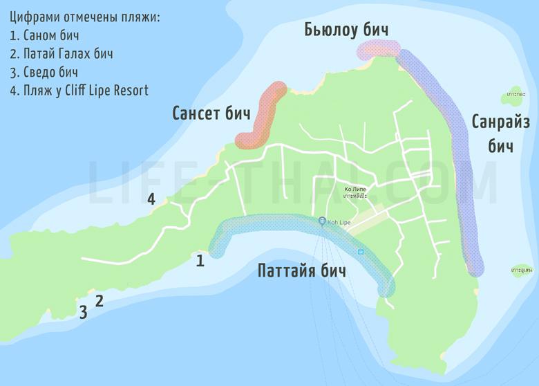 Карта пляжей ко Липе