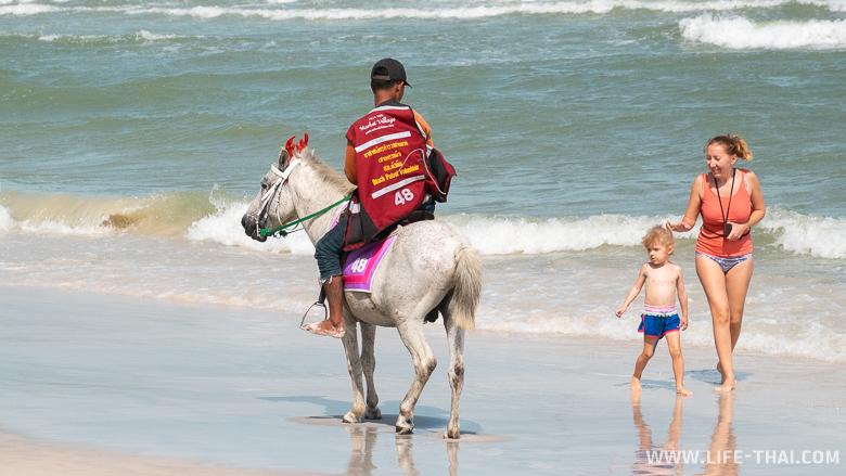 Лошадки на городском пляже Хуа Хина