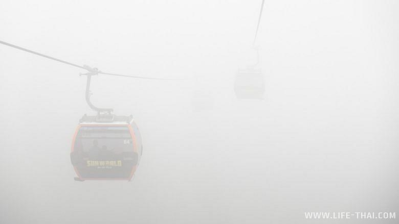 Сквозь тучу на вершину горы Бана в Дананге
