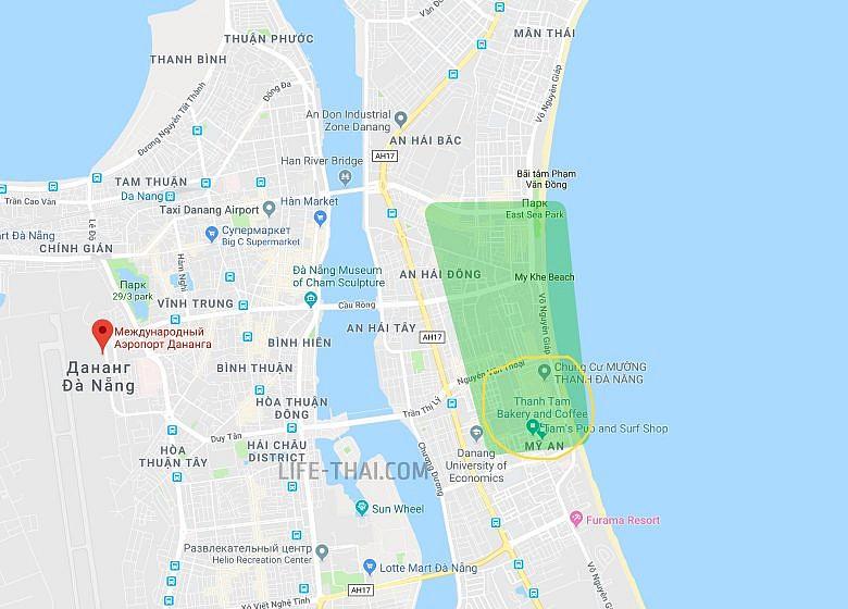 Карта Дананге где селиться