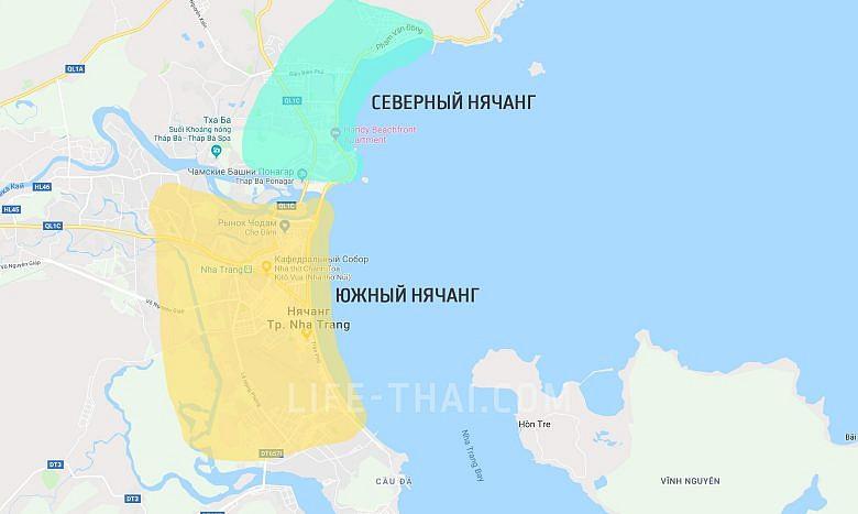 Карта Нячанга с районами