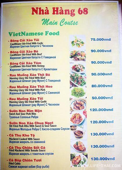 Цены на питание в кафе Фукуока, Вьетнам