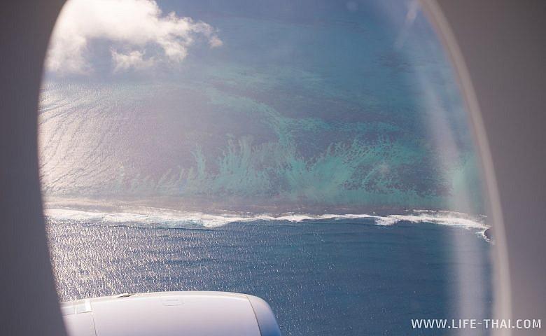 Пляжи Маврикия. Вид с самолёта