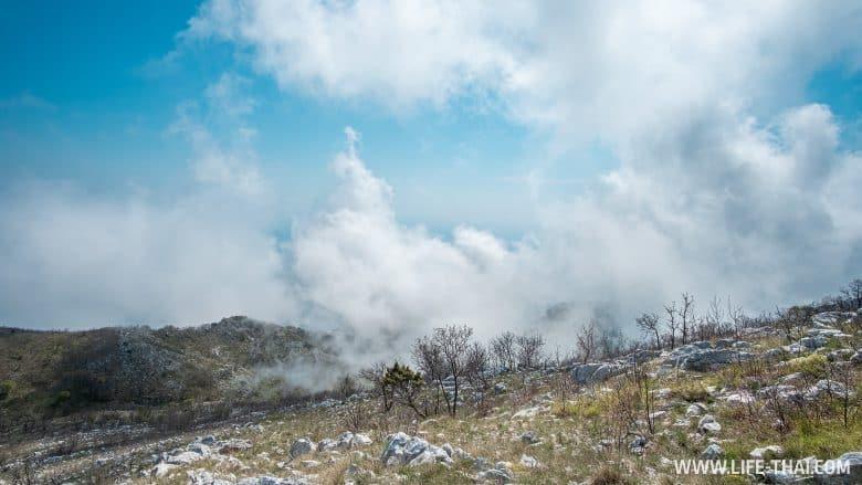Облака на горе Велий Космач в Черногории