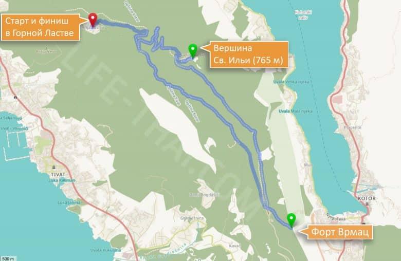 Пешеходный маршрут по Врмацу на 1 день на карте